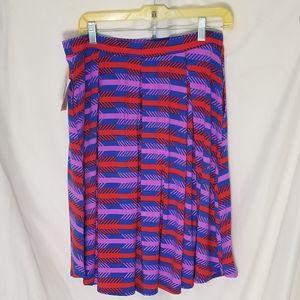 NWT Lularoe Madison blue purple red pleated skirt